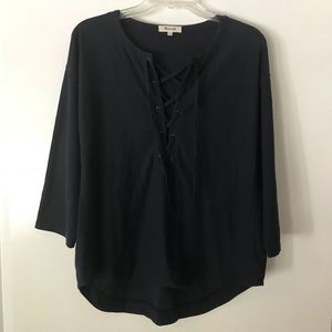 Madewell Tie Up Long Sleeve Top Size M